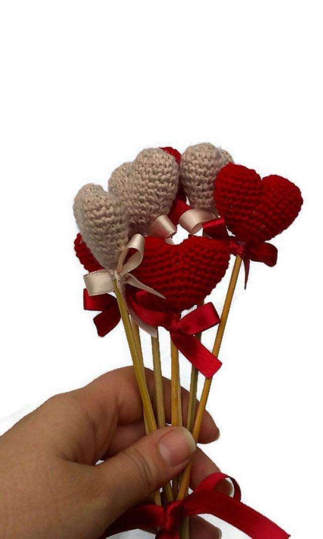 Crochet Heart Red Vase Decor Home Birthday Table Decoration