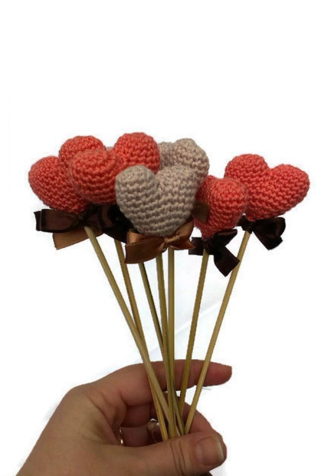 Coral Color Crochet Heart Wedding Decoration 2402833