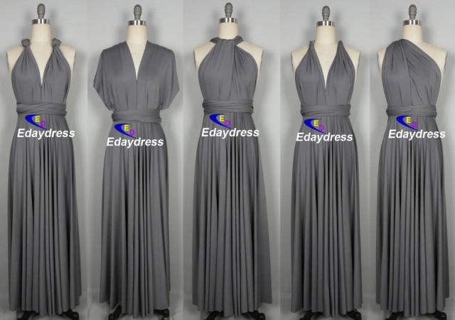 Maxi Full Length Bridesmaid Dark Gray Infinity Dress