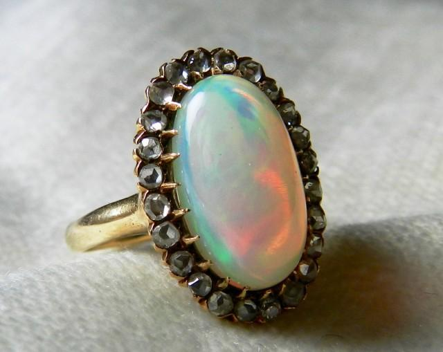 Opal Ring 14K 3.5 Ct Opal And Diamond Ring Art Deco Opal