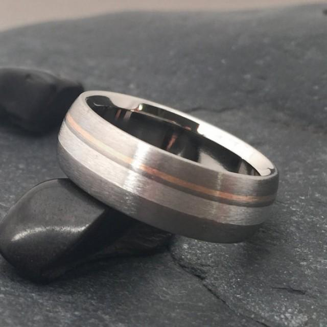 Silver And Rose Gold Titanium Ring Wedding Mens Band Womens Promise Domed 2403206