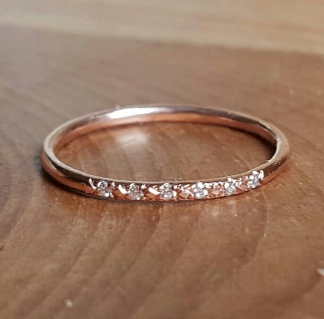14K Pink Gold Pave Diamond Ring 14K Stacking Rings 14K Rose Gold Band Womans Ring Gifts For Her