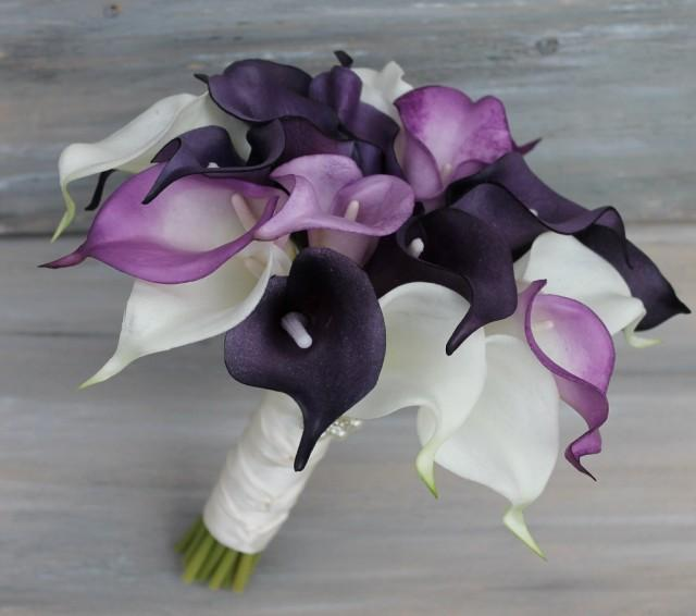 wedding bouquet purple calla lily bouquet real touch