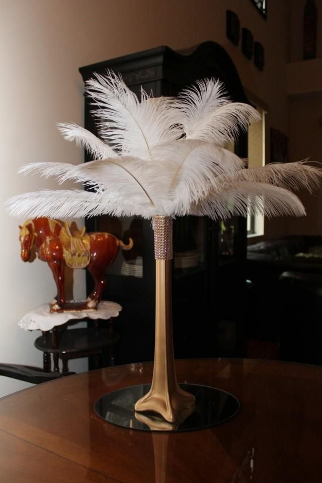 Ostrich Feather Centerpiece 16 Gold Eiffel Tower With Gold Bling