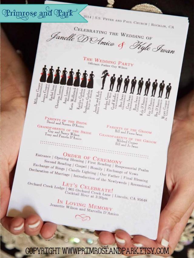 Silhouette Wedding Program Printable Unique Wedding
