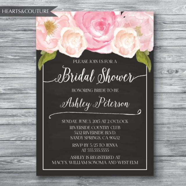Floral peony watercolor chalkboard bridal shower invitation bridal floral peony watercolor chalkboard bridal shower invitation bridal shower invitation wedding shower invite watercolor floral blush pink 2404524 filmwisefo