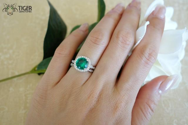 275 carat halo wedding set vintage bridal rings man made green emerald diamond simulants engagement rings wedding sterling silver 2404540 - Green Wedding Rings