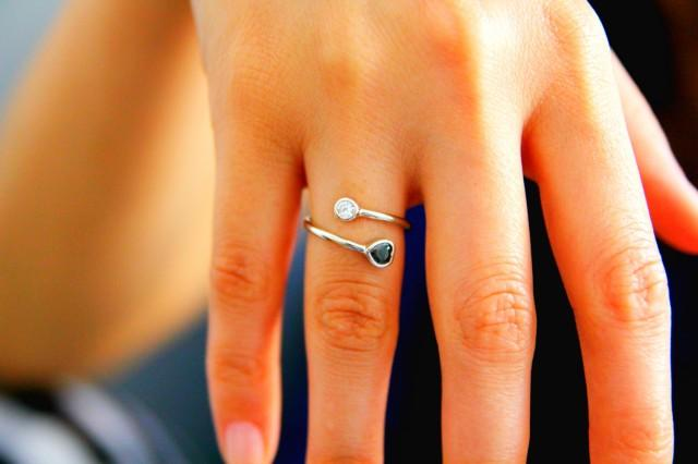 heart symbol and with dual ring dual birthstone ring