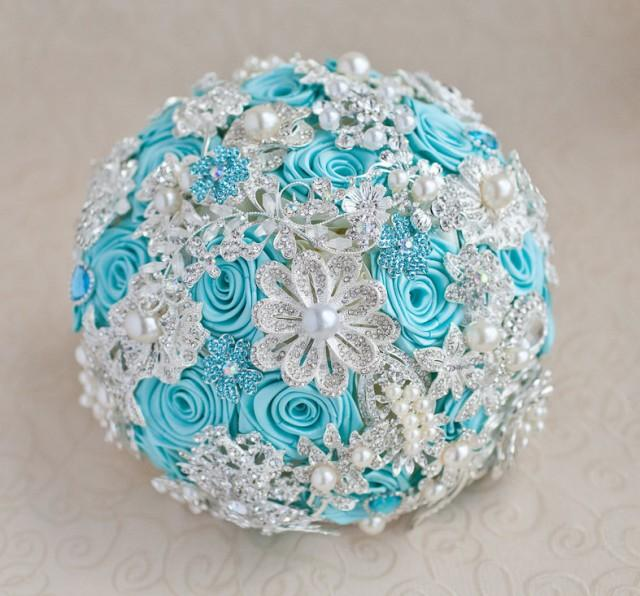 Turquoise And Silver Wedding Brooch Bouquet Jeweled Made Upon Request 2405024