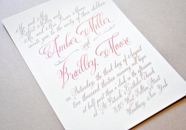 Coral Wedding Invitations Calligraphy Coral Wedding
