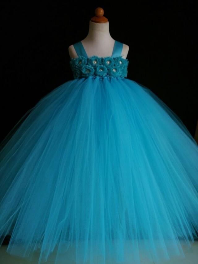 Turquoise Flower Girl Dress Shabby Chic Flowers Dress Tulle Dress