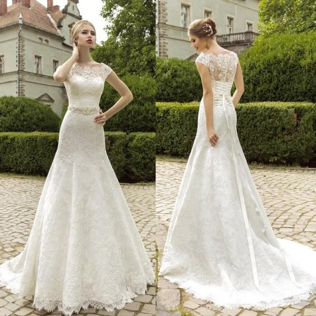 Lace Fit And Flare Wedding Gown: Elegant Off Shoulder Lace Wedding Dresses Sheer Capped