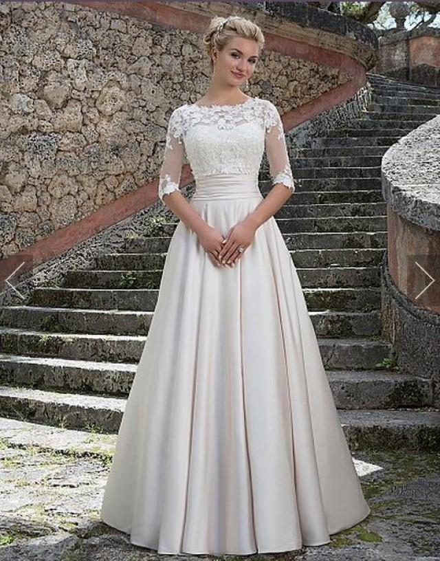 New Style Wedding Dresses With Wrap Satin Pleated Ivory Vestido De Novia Applique A Line Chapel Length Bridal Ball Dresses Gowns Train Online With 126 39 Piece On Hjklp88 S Store 2405661 Weddbook
