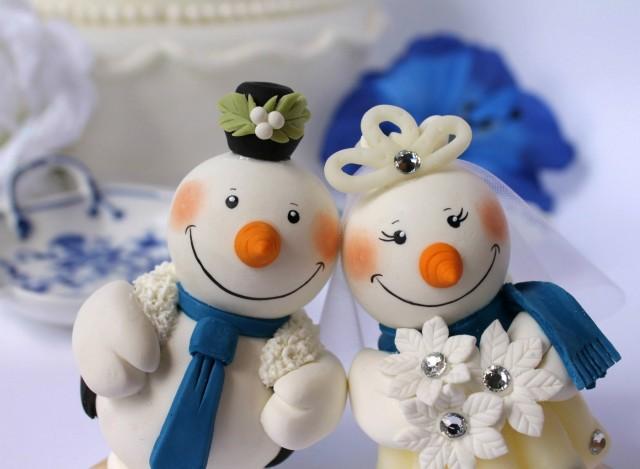 Christmas Wedding Cake Toppers.Wedding Cake Topper Snowmen With Banner Christmas Wedding