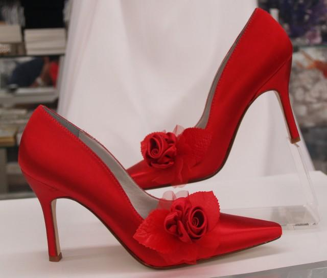 Red Rose Wedding Shoes Sexy Heels
