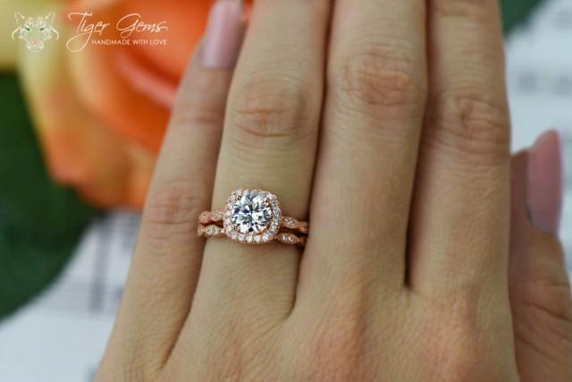 1 25 Carat Halo Wedding Set Vintage Style Bridal Rings