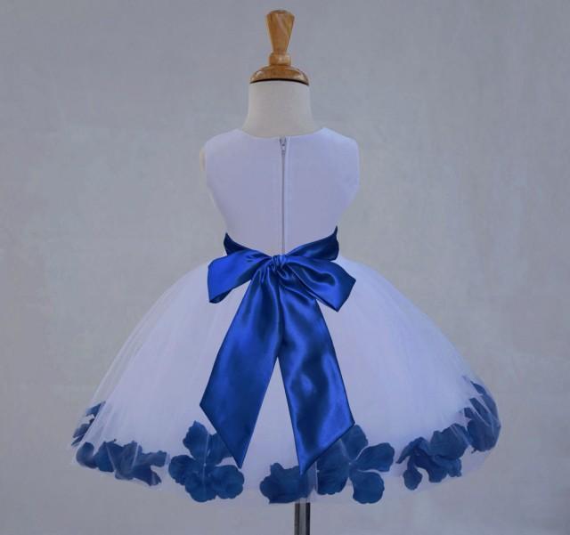 White Flower Girl Dress Sash Pageant Petals Wedding Bridal Party ...