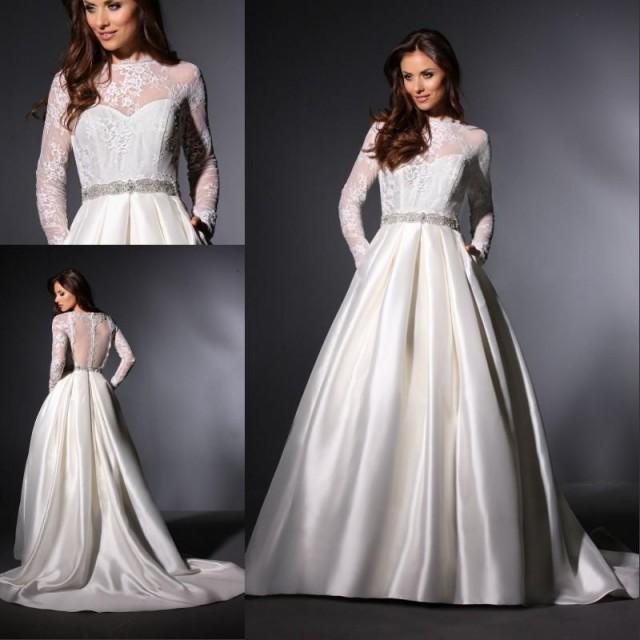 Winter Wedding Gowns 2015: Elegant Sheer A-Line Wedding Dresses Satin Long Sleeve