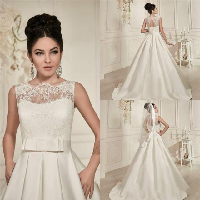 Bride Gowns 2015: Elegant 2015 Wedding Dresses Lace Sheer Crew Neck See
