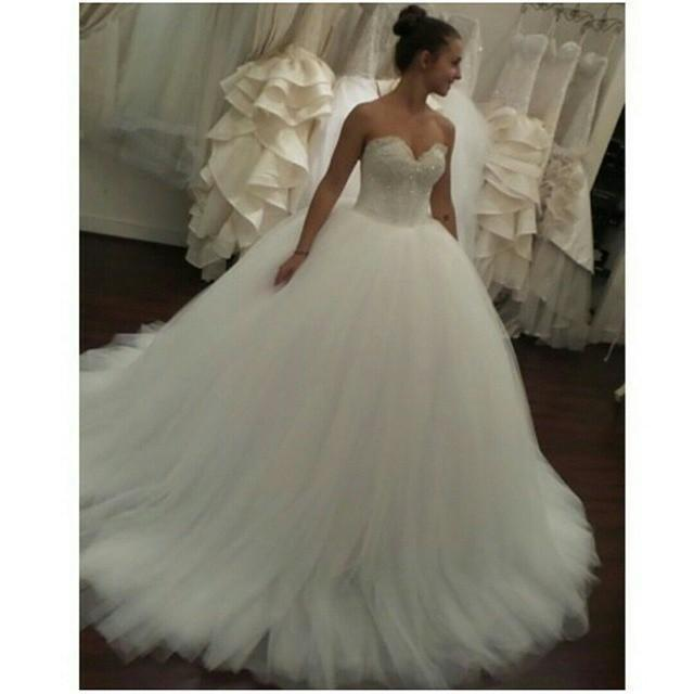 Real Image Sweetheart Ball Gown White Wedding Dresses