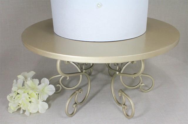 Wedding Cake Stand Champagne Swirl Pedestal Light Gold