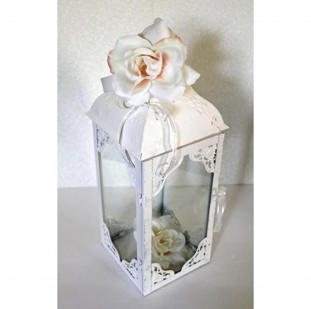 Wedding Lantern Centerpiece Antique White Bright Ivory Wedding