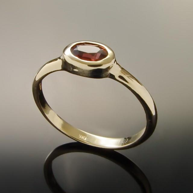 Faceted Garnet Gold Ring Handmade Delicate Ring 14k Yellow Gold