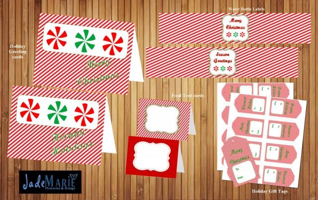 Christmas Holiday Printables Gift Tags Water Bottle Labels