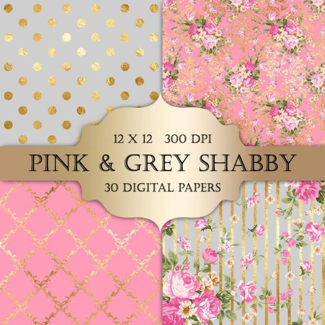 Gold Foil Shabby Chic Digital Papers Pink And Grey Polka