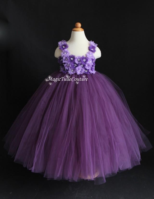 4fc644df76 Dust Plum Eggplant Purple Violet Mixed Flower Girl Tutu Dress ...