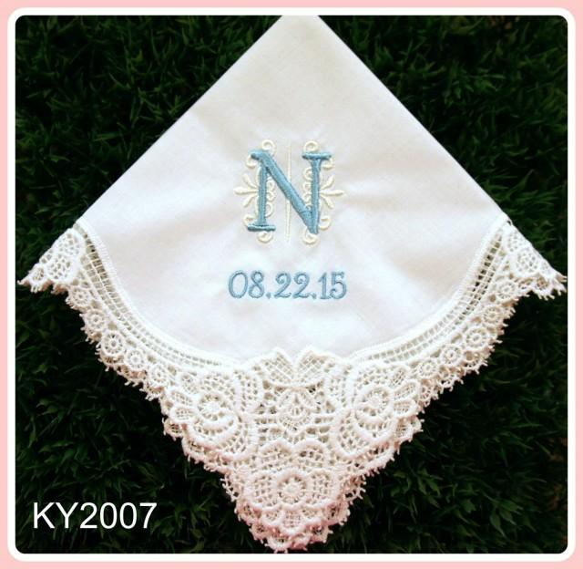 Wedding handkerchief embroidery hankies monogram