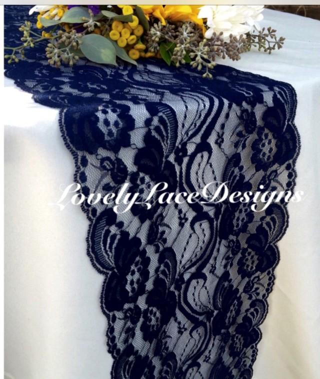 Navy Lace Table Runner 7 Quot Wide X12ft 20ft Long Wedding