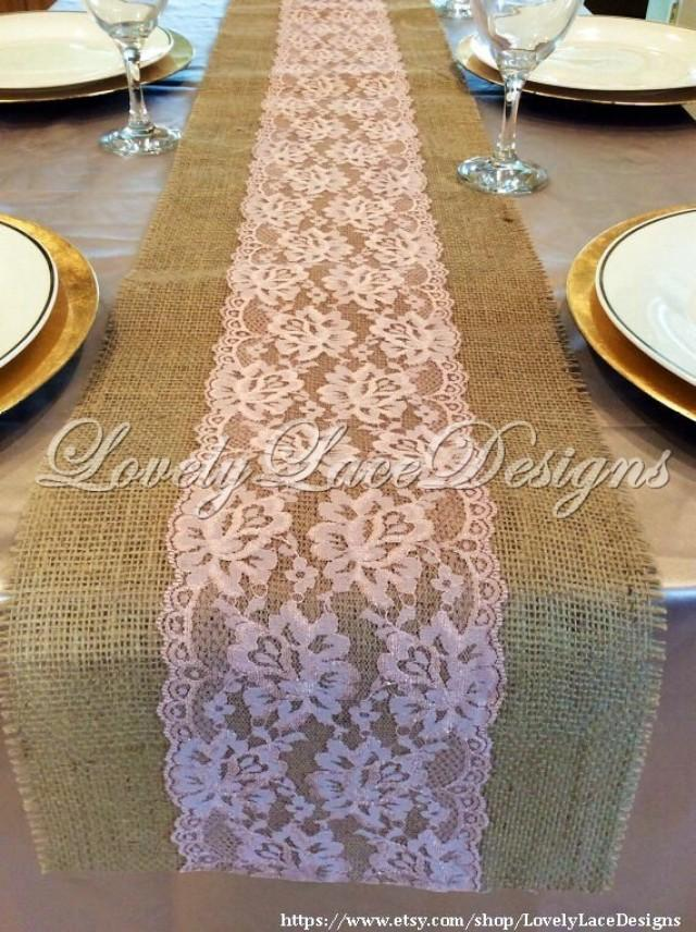 Wedding Decor Burlap Lace Table Runner With Rose Pink