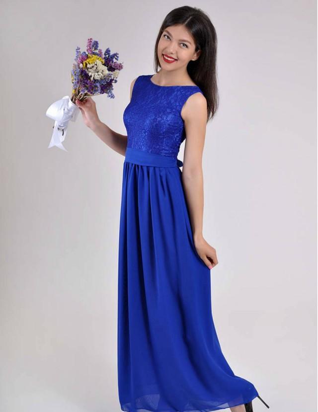 Long Evening Dress Cobalt Blue Wedding Lace Chiffon Bridesmaid 2409262 Weddbook