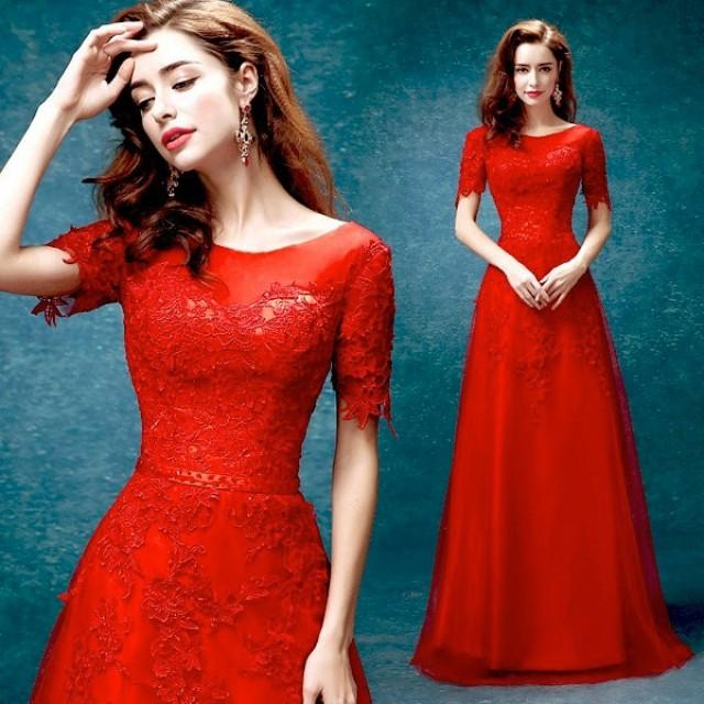 Long Red Lace Wedding Dresses Dress Prom Bridal Party Bridesmaid 2409837 Weddbook