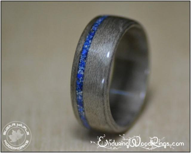 Grey Maple Wood Ring With Lapis Inlay Mens Rings Mens