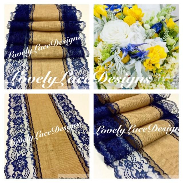 Navy blue burlap lace table runner 4ft 10ft x13in wide for 12 ft table runner