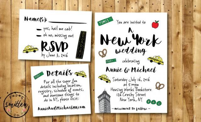 Fun NYC PRINTABLE Wedding Invitation Suite // New York Wedding Invitation  RSVP // Funny Wedding Invite Suite// Unique Wedding Invite #2410861    Weddbook