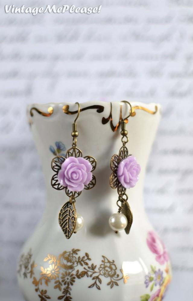 Wedding Gifts For Girl: Bridesmaid Earrings Gifts Vintage Style Earrings Flower