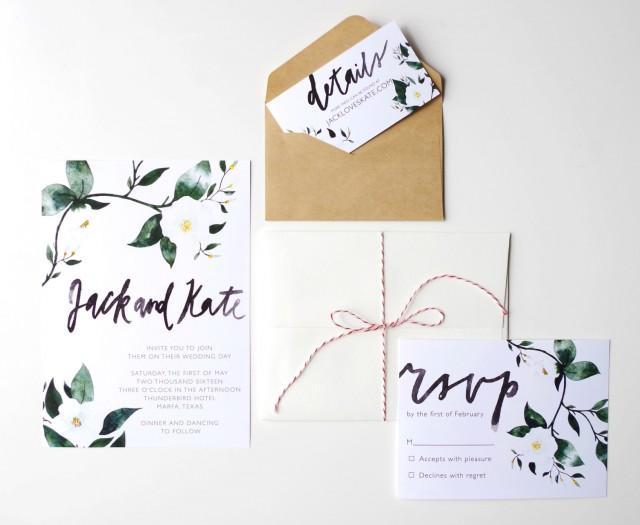 Printable wedding invitation template watercolor custom