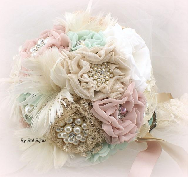 Mint Brooch Bouquet Mint Bouquet Wedding Bridal Locket Ivory
