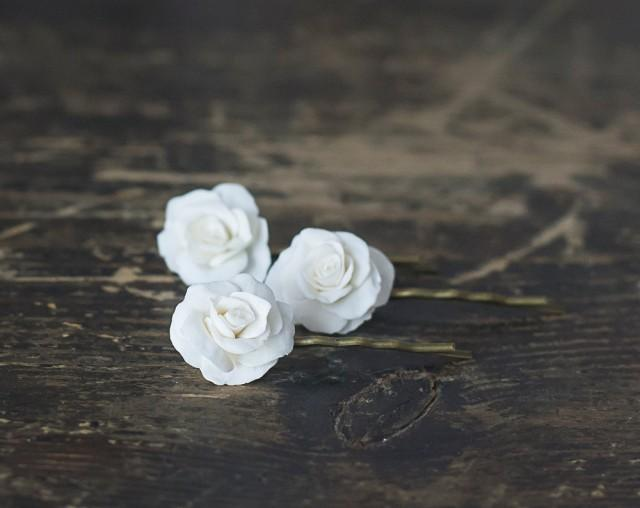 White rose flower hair pins white rose hair clips bridal hair white rose flower hair pins white rose hair clips bridal hair accessories white flower hair bobby pins wedding flower hair pins 2412035 weddbook mightylinksfo