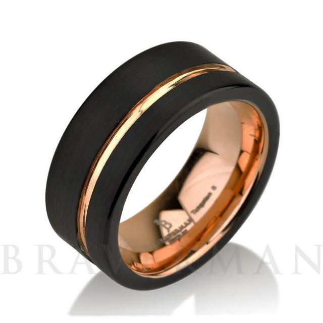 Black Tungsten Ring Rose Gold Wedding Band Ring Tungsten 9mm 18K