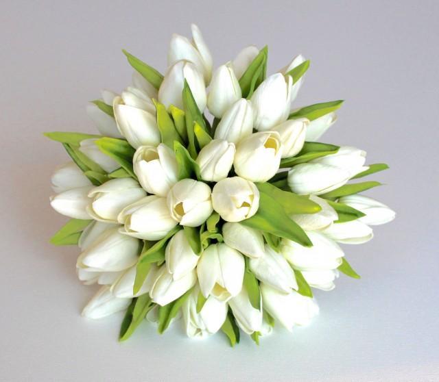 Wedding Bouquet Tulip Wedding Bouquet Bridal Real To Touch Silk