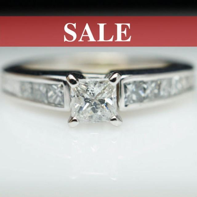 SALE Vintage Diamond Engagement Ring Princess Cut Diamond