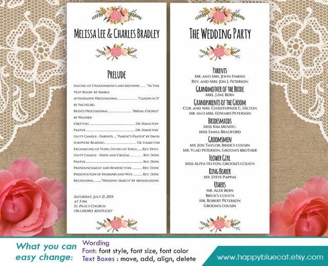 diy printable program wedding template