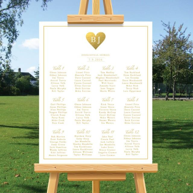 Rustic Wedding Seating Chart Ideas: Rustic Wedding Seating Chart Sign, Gold Foil, Minimalist