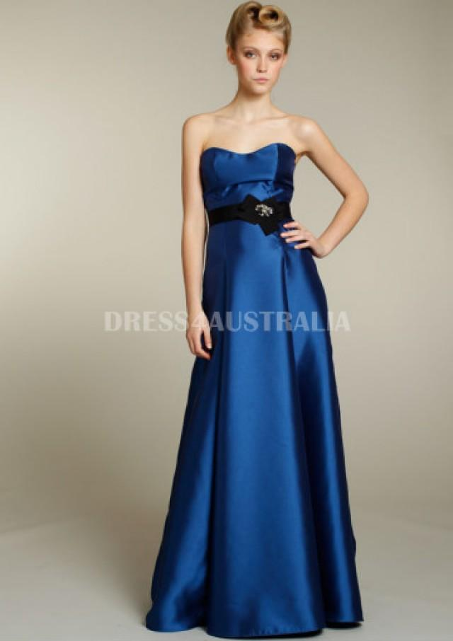 Buy australia a line royal blue satin sash accent floor for Wedding dresses with royal blue accents