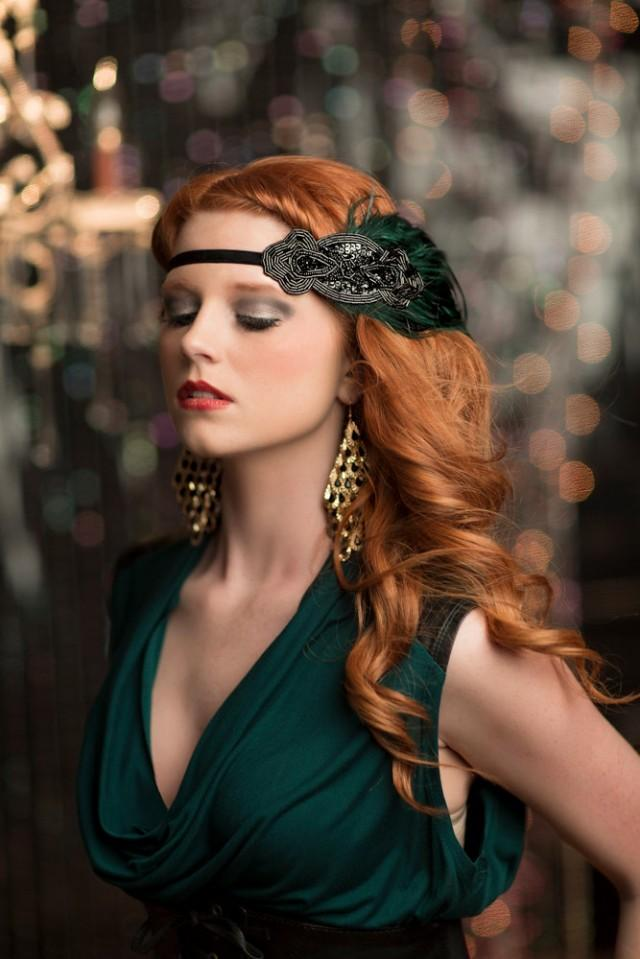 Green 1920s Headpiece Great Gatsby Headppiece 20s