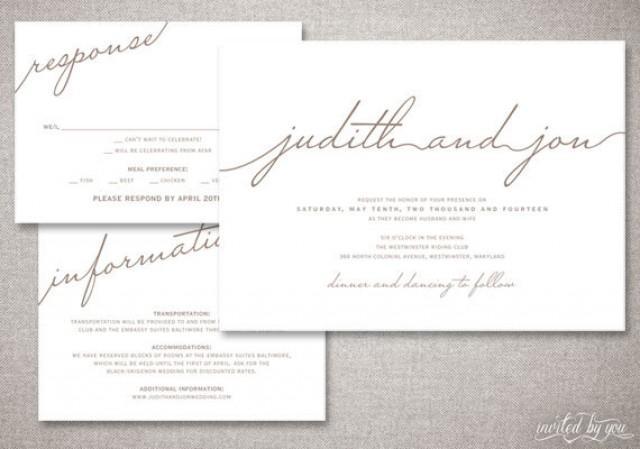 Modern Script Judith Wedding Invitations Suite Rustic – Handwritten Calligraphy Wedding Invitations